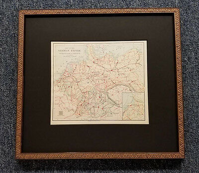 Original Antique Map of The German Empire Scroll Wood Frame