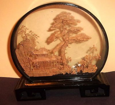 Antique Oriental Cork Art Encased in Glass and Lacquered Frame
