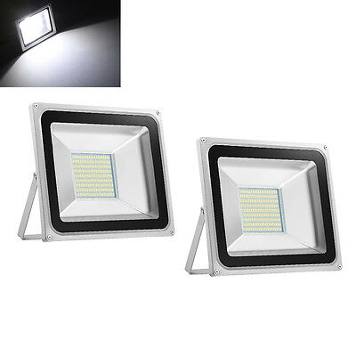 2X 100W LED Floodlight Outdoor Garden Lamps Cool White LED SMD Floodlight IP65