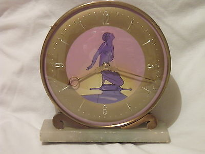 "Vintage Old Smiths Art Deco Mantel Clock with Art Deco Lady Decoration 6.5"" tall"