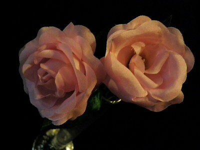 """Millinery Flower 2"""" Rose Pair created of True Silk Cheery Pink For Hat KW5 C"""