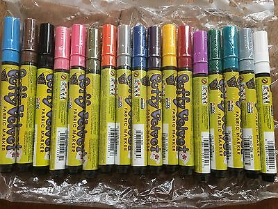 17 X Puffy Velvet Fabric Markers Pink Yellow Blue Grey Brown Red Purple Black