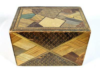 Antique Japanese Wooden Marquetry/Straw-work Box, Late 19thC.
