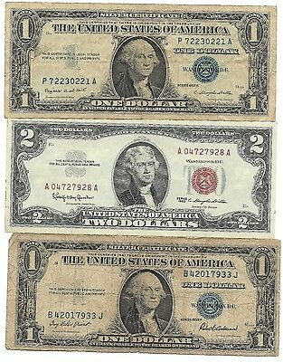 US Blue Silver Certificate Red Seal Two Dollar Bill Note Collection Money Lot