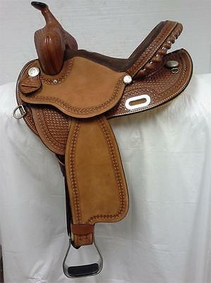 "Rocking R Saddlery New 14"" #311 Barrel Racing Saddle Regular Quarter Horse Bar"