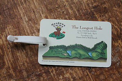 Plastic Meadow Farms The Longest Hole Golf Bag Tag Plastic Guiness Book Records