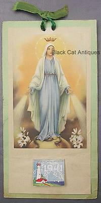 Original 1941 Holy Virgin Mary with Serpent Easter Lily Calendar
