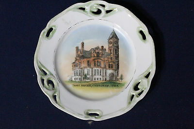 "Rare Early 1900s 5"" Souvenir Plate Court House Cherokee Iowa IA Germany Made"