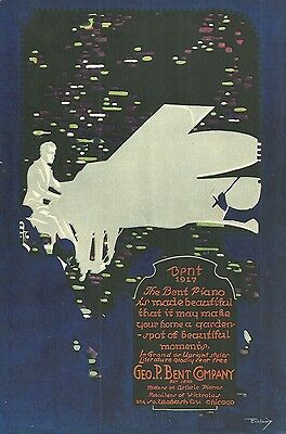 1917 George Bent Piano Co, Chicago, Illinois Color Lithograph Advertisement