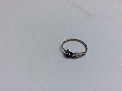 Sterling silver ring size 10 black agate stone