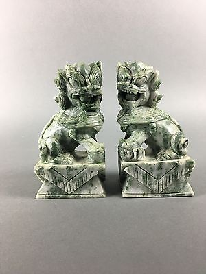 Vintage Carved Stone Jadeite Foo Lion Chinese Bookends