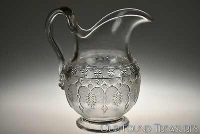 c. 1870s PRIDE AKA LEAF AND DART by RICHARDS & HARTLEY CRYSTAL Pitcher
