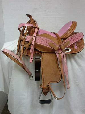 "American Saddlery 14.5"" Pink Ostrich Barrel Saddle #1960 Full Bar - Package"