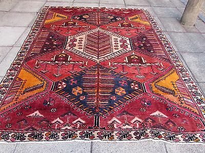 Old Shabby Chic Hand Made Traditional Persian Oriental Wool Red Carpet 280x220cm