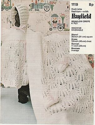 Baby Shawl Dress Bonnet Bootees To Knit Pattern By Hayfield