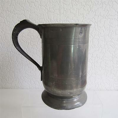 Antique Victorian Pewter Quart - 14 Duty Stamps