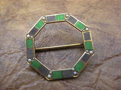 Vintage 14k Yellow Gold Enameled Octagonal Pin With 16 Small Seed Pearls