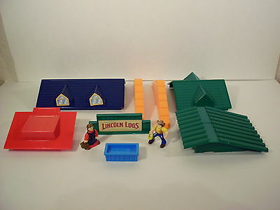 Lincoln Log Roofs Struts Sign Cowboy & Cowgirl Trough 10 Lot Accessories Parts