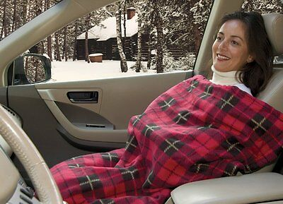 Heated Fleece Travel Electric Blanket - 12 Volt - Red Plaid New