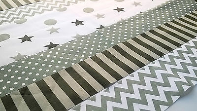 10 x GREY SILVER Fabric Jelly Roll Strips Polycotton Patchwork Quilting