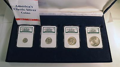 Binion Uncirculated Silver Type Set NGC #1007 / 2500 4 coins - 1922 Peace $1 etc