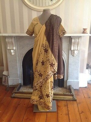 Indian Bollywood Saree Gold Brown Size Small