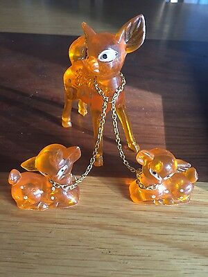 Vintage 1950's-1960's lucite acrylic deer and fawns figurine, collectable