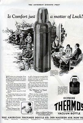 1925 American Thermos Bottle Camp Fish Cabin Sport Ad 6064