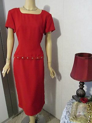 Mother Of The Bride Dress by Jessica Howard-Size 14-Red Jeweled Illusion Dress