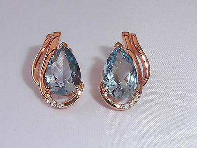 Ladies 18 Ct Rose Gold Sterling 925 Silver 4 Ct Blue Topaz & Sapphire Earrings