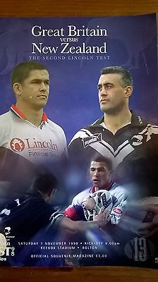 Great Britain v New Zealand 2nd Test 07/11/98 Rugby League Programme. 1 signatur