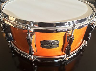 yamaha stage custom birch 14 x 5.5 snare drum, amber lacquer