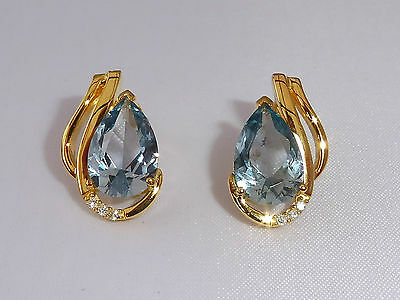 Ladies 18 Ct Yellow Gold Sterling 925 Silver 4 Ct Blue Topaz & Sapphire Earrings