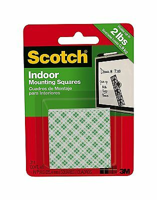 3M Scotch 76996 Indoor Mounting Squares, 1 in x 1 in, White