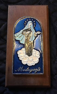 Vintage Icon Wall Plaque Apparition Virgin Mary from Medjugorje/Medugorje