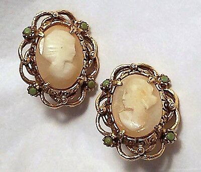 Vintage 1950-60's Carved Shell Cameo Clip Earrings Ornate Gold FLORENZA signed