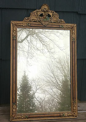 Antique Vintage Polychrome Art Deco Floral Gesso Framed Wall Mirror