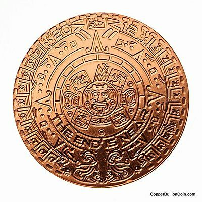 Roll 0f 20 Mayan Aztec Calendar 1 oz- .999 Copper Bullion Coin Rounds + Displays