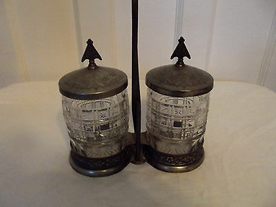 Victorian Aesthetic Movement~Silverplate~ Double Jar~Pressed Glass Pickle Castor