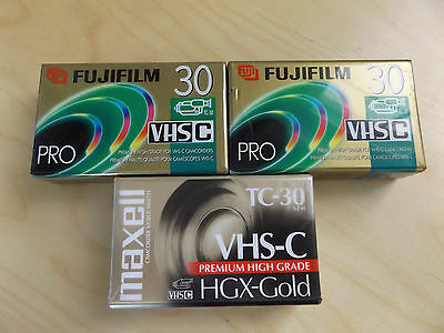 Set of 3 Sealed Camcorder Cassettes Video Tapes Maxell 2x FUJIFILM TC-30 VHS-C