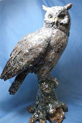 """New X Large Sparkle Realistic Wise Barn Hoot Owl Statue Figurine Sculpture 15"""""""