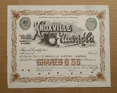 Knoxville Electric Co.,Pittsburgh,Pa.,Stock Certificate,1900-1909