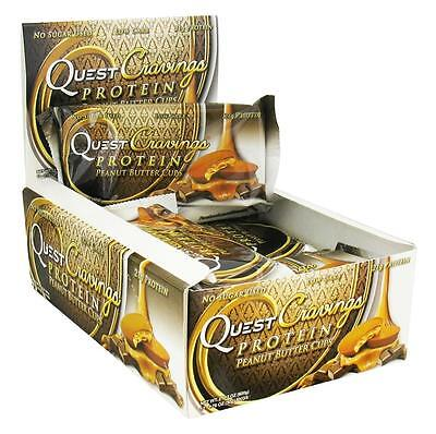 NEW Quest Cravings Peanut Butter Cup 20g Protein Bar 12ct Chocolate Energy Meal