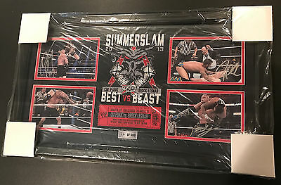 CM Punk vs. Brock Lesnar Signed WWE Plaque Summerslam 2013 26/500 Best vs Beast