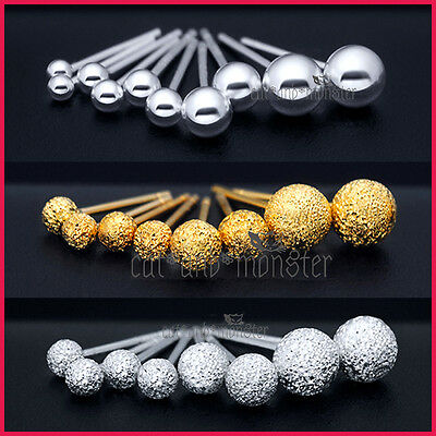 Sterling Silver Mens Womens Girls Small Ball Round Stud Post Piercing Earrings