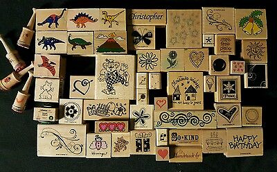 Lot of 53 Rubber Stamps Various Wood Mounted