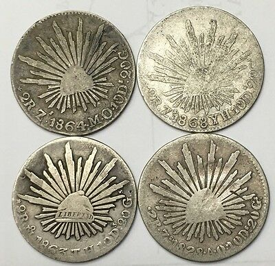 Lot Of 4 Mexico 2 Reales 1828 - 1868 Foreign Silver Coins