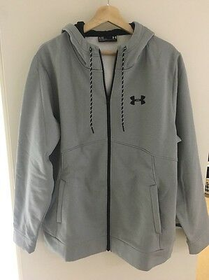 Mens Under Armour Fleece Full Zip Hoodie, Grey, Size Large, New with tags!!