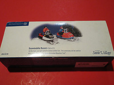 Original Vintage Snow Village 56.55136 Snowmobile Racers Toy