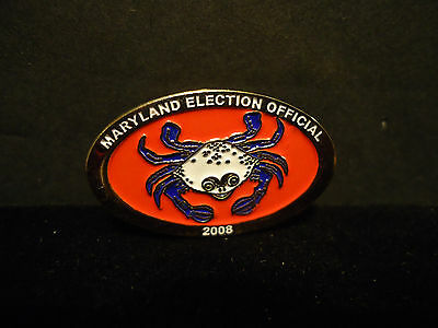 Maryland Election Official 2008 Crab Lapel Hat Pin